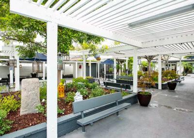 Alcott Rehabilitation Hospital garden and seating area