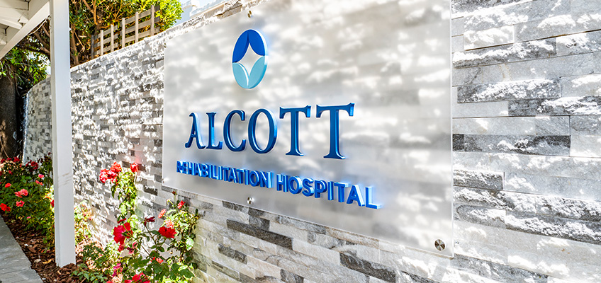 Flowers and sign out front Alcott Rehabilitation