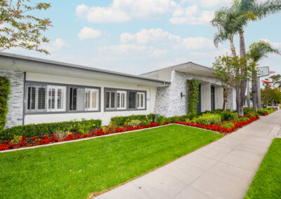 Anaheim Healthcare facility front garden and lawn