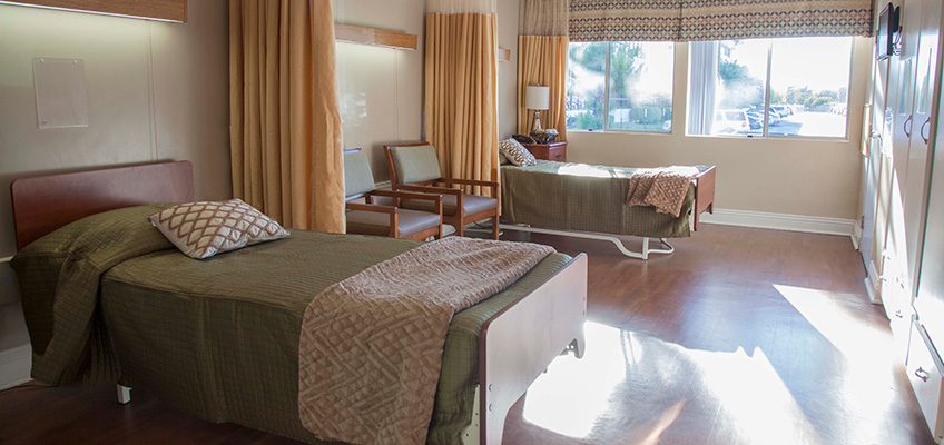 Anaheim Healthcare facility semi-private room with big windows