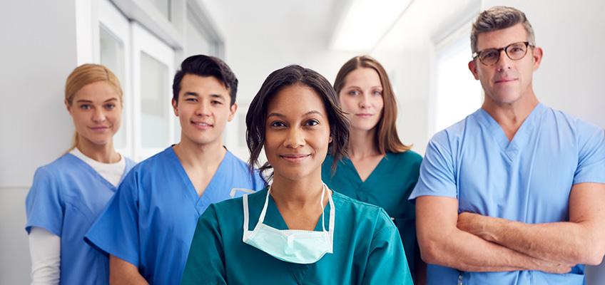 pleasant looking nurses in the hallway