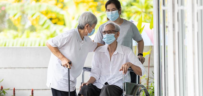 Residents wearing masks
