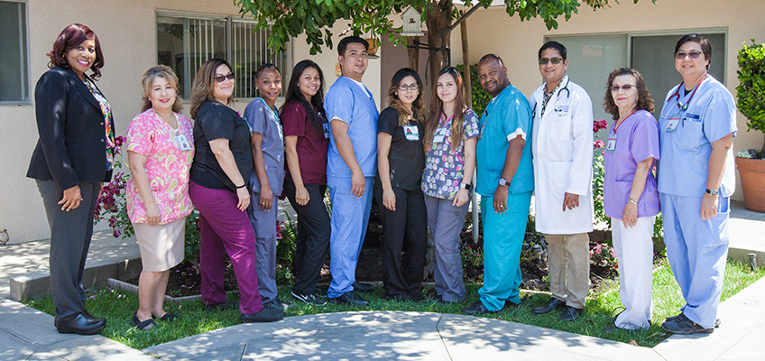 Citrus Nursing Center happy nurses and staff portrait in the shade of a tree