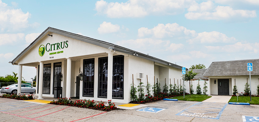 Citrus Nursing Center front of facility, and parking lot