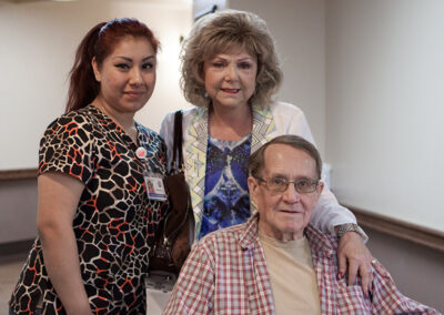 A nurse, a resident and his wife