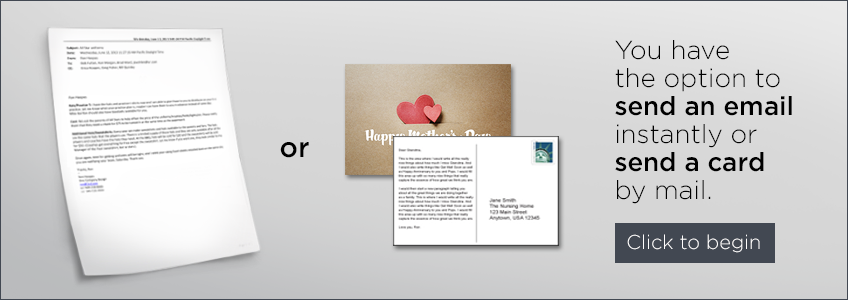 You have the option to send an email instantly or send a card by mail.