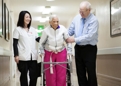 A resident, a nurse and a care center administrator