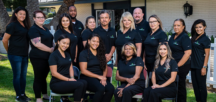 A portrait of the staff and care team
