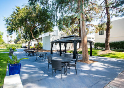 French Park outdoor comfortable seating with shade trees