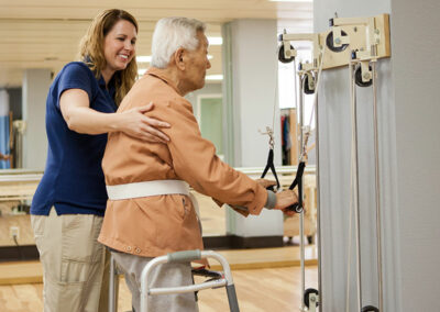 French Park rehab therapist and elderly resident