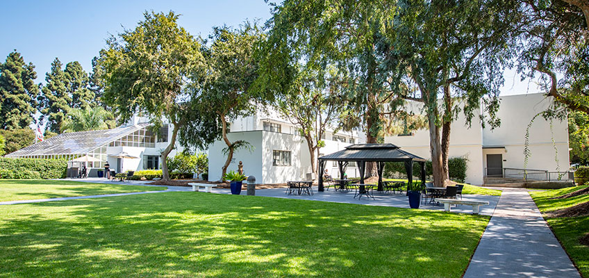 French Park outdoor green lawn with shade trees