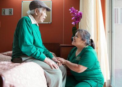 Garden Park nurse and happy elderly resident