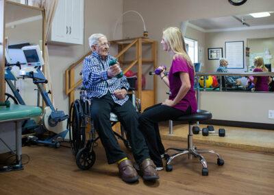 Gordon Lane staff member with elderly resident