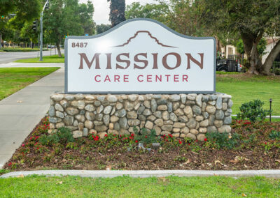 front lawn and monument sign at Mission Care Center