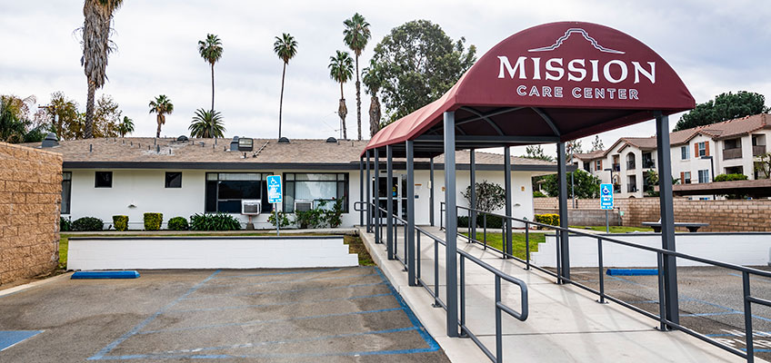 Mission Care Center facility and front awning sign