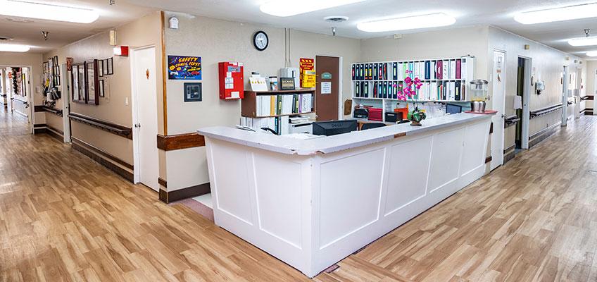 nurses station and hallways at Mission Care Center