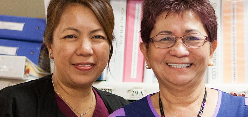 North Valley Nursing Center nurses at the nurses station