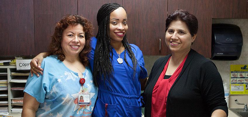 Three nurses at Pacific Post-Acute