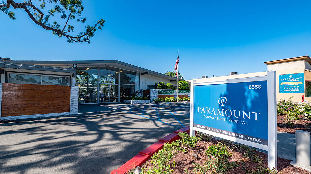 Front of Paramount Convalescent Hospital with sign