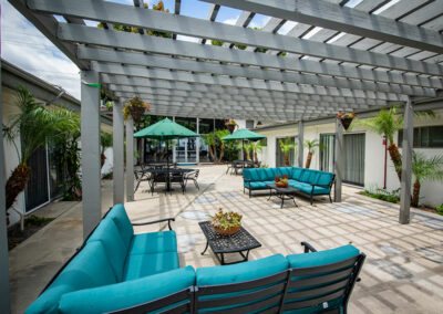 Paramount Convalescent shaded area in the back patio